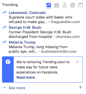 Facebook Trending Section