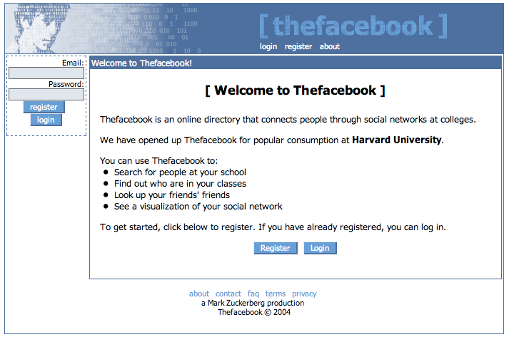 facebook old website design