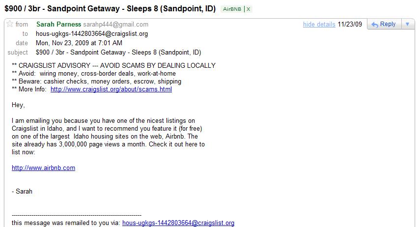 sandpoint getaway craig mail