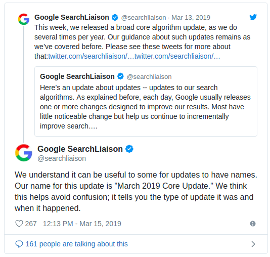Google Algorithm Update on Twitter