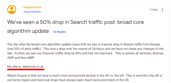UK's Daily Mail Complaining About Ranking Drop on Google Webmaster Forum