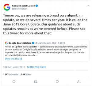 June 2019 Google Core Algorithm Update announcement on Twitter