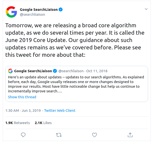June 2019 Google Core Algorithm Update announcement on Twitter