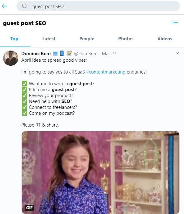 Guest post SEO twitter search