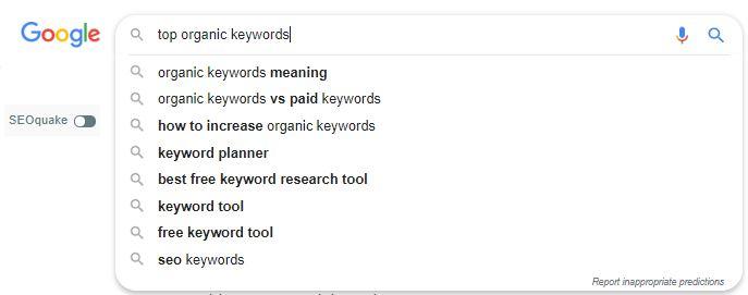Organic Keywords